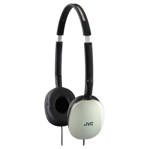 JVC Flats Foldable Style Stereo Headphones Silver HAS160S