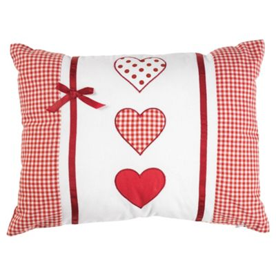 Tesco Kids Embroidered Heart & Bows Cushion
