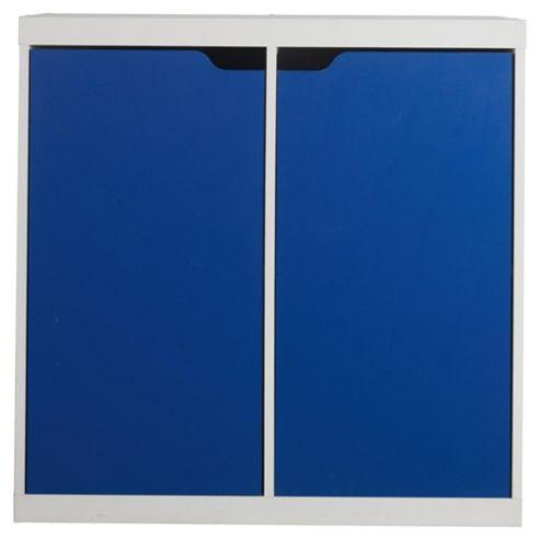Seattle Kids 2 Door Storage Unit, White & Blue