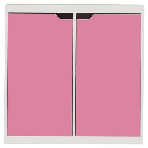 Seattle Kids 2 Door Storage Unit, White & Pink