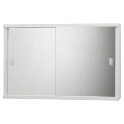 Tesco Double Sliding Mirror Door White Cabinet