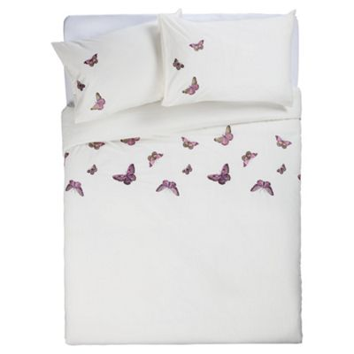 Tesco Emb Butterflies King Size (Cream)
