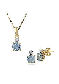 Gemondo 9ct Yellow Gold Blue Topaz & Diamond Round Stud Earring & 45cm Necklace Set