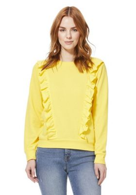 JDY Frill Trim Sweatshirt Yellow M