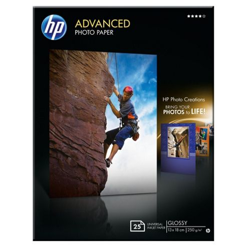 HP Advanced Glossy Photo Paper - 25 sht/13 x 18 cm borderless