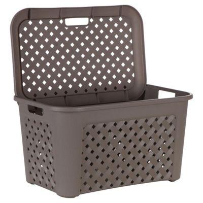 Arianna large laundry basket with lid, mole