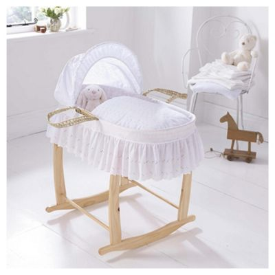 Clair de Lune Broderie Anglaise Palm Moses Basket, White