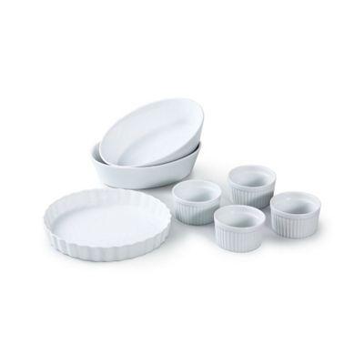 7 Piece White Porcelain Baking set