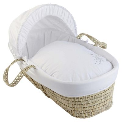 Clair de Lune Starburst Palm Moses Basket, White