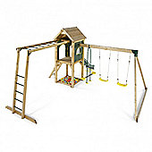 Plum Kudu Wooden Climbing Frame Outdoor Play Centre with Double Swing, Slide, Sand Pit and Monkey Bars