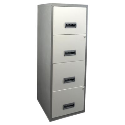 Pierre Henry A4 4 Drawer Maxi Filing Cabinet, Silver With White Drawers