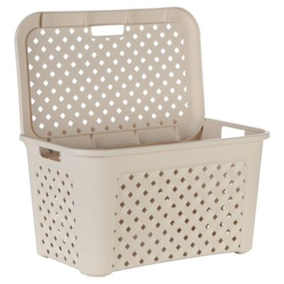 Arianna large laundry basket with lid, angora