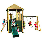 Plum Warthog Wooden Climbing Frame Outdoor Play Centre with Double Swing, Play Tower, Slide and Play Den