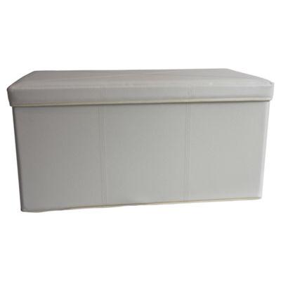 Tesco Leather Effect 2 Compartment Ottoman Trunk, Cream