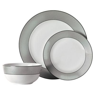 Tesco Pinstripe 12 Piece, 4 Person Dinner Set, White & Black