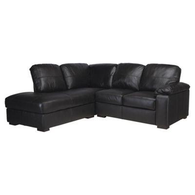 Ashmore Leather Corner Sofa, Black Left Hand Facing