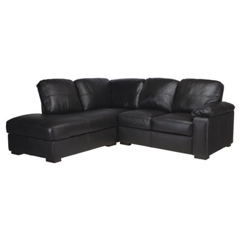 Ashmore Leather Corner Sofa, Black Left Hand Facing