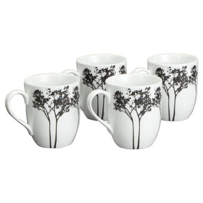 Tesco Shadow Tree Set of 4 Mugs