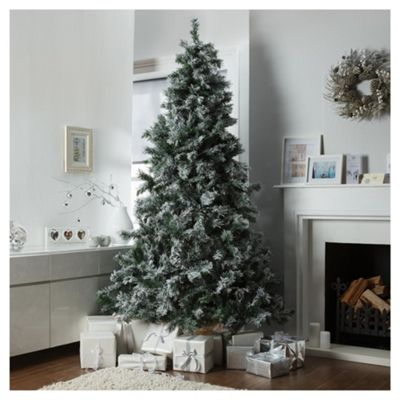 festive 8ft flocked pine christmas tree - 8 Ft Christmas Tree