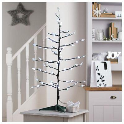 Festive Twig Christmas Tree with White LED Lights.