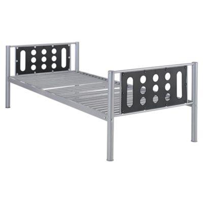 Domino Single Bed Frame, Silver & Black Headboard