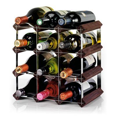Ready To Assemble 12 Bottle Wine rack, Dark Oak