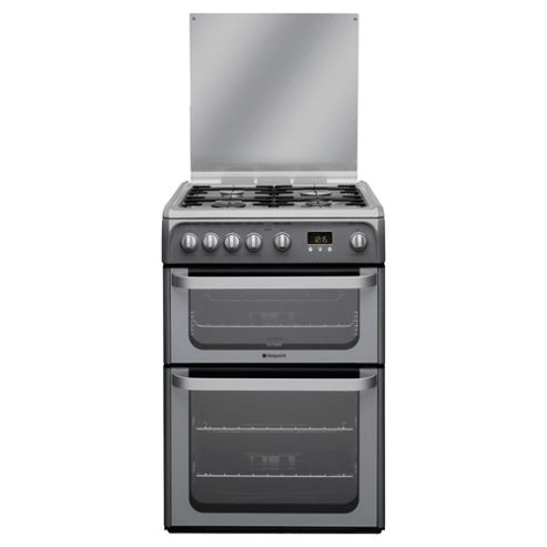 Hotpoint Ultima Gas Cooker with Gas Grill and Gas Hob, HUG61G - Graphite