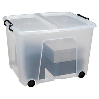 Strata Plastic Stackable Storage Box with Lid and Wheels - 75L