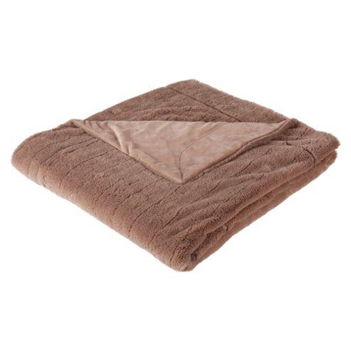 Tesco Ribbed Faux Fur Throw Mink