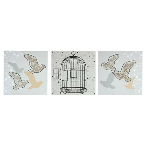 Pack 3 Bird Cage & Lace Canvas