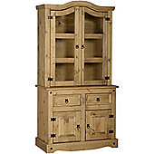 Corona Mexican 3' Buffet Hutch Distressed Waxed Pine/Clear Glass