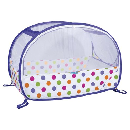 Koo-di Pop Up Bubble Travel Cot, Purple Polka
