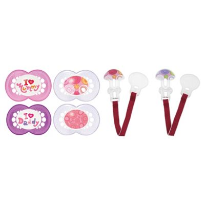 MAM Soother And Clip Set 0-6 Months, Girls