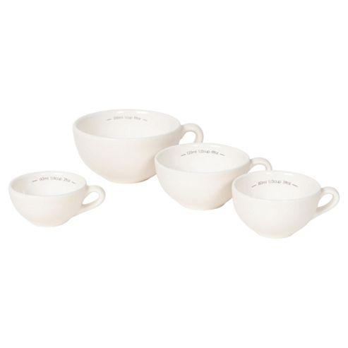 Nigella Lawson Living Kitchen Set of 4 Measuring Cups, Cream
