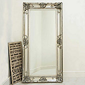 Beautiful Large Silver Decorative Ornate Wall Mirror 6ft x 3ft (183 x 91cm)