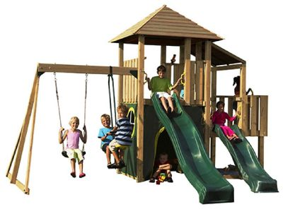 Plum Bison Wooden Climbing Frame Outdoor Play Centre with Swings, Double Slide, Play Tower, Play Den and Sand Pit
