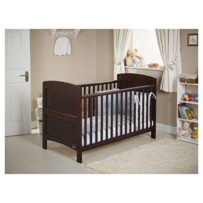 Obaby Grace Cot Bed Bundle, Walnut & Blue