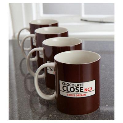 Tesco Street Sign Set of 4 Mugs, Brown
