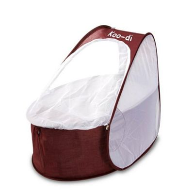 Koo-di Pop Up Travel Cot & Bassinette, Aubergine & White
