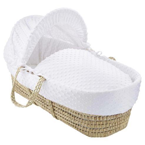 Clair de lune Dimple Moses Basket, White
