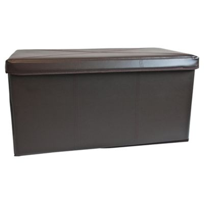 Tesco Leather Effect 2 Compartment Ottoman Trunk, Brown