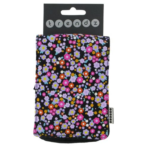 Trendz Fabric Pouch for Universal Smartphone Devices - Ditsy Black