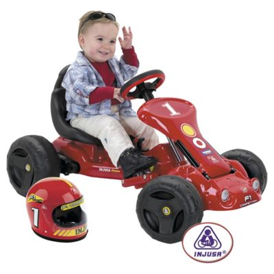 Injusa Go Kart Battery Operated Ride-On with Safety Hat