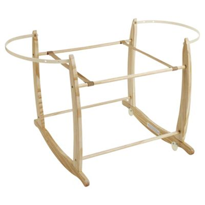 Clair De Lune Wooden Deluxe Moses Basket Rocking Stand, Natural