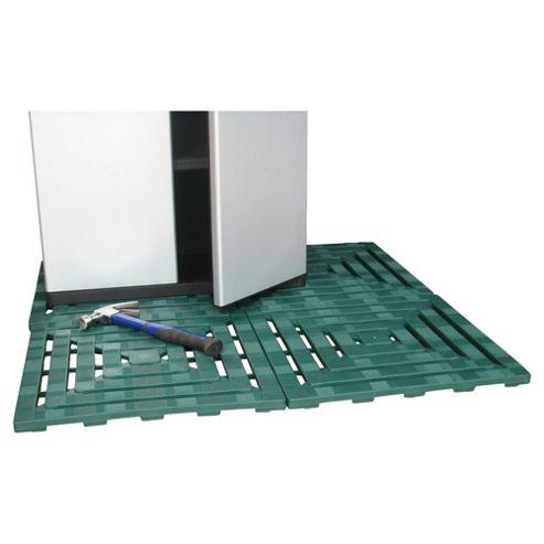 Keter Step-On Plastic Floor Tiles, 4 Pack, Green