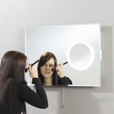 Endon Lighting Backlit Mirror with a Small 3x Magnification Mirror on the Right