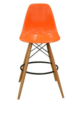 Charles Eames Style DSW Orange Bar Stool