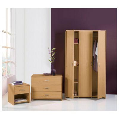 Ashford Triple Wardrobe Set, Beech-Effect