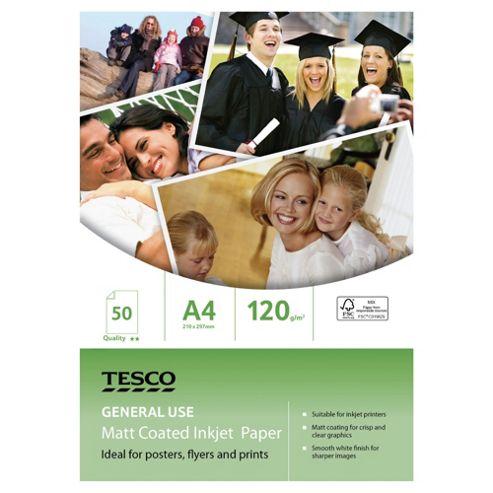 Tesco A4 General use Matt coated inkjet Paper - 50 Sheets