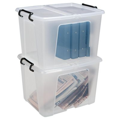 Strata Plastic Storage Box with Lid - 40L - 2 Pack